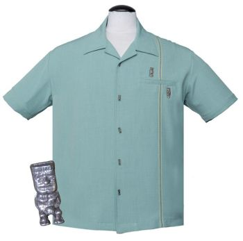 Steady Clothing Tiki Retro Stitch Button Up Shirt - Light Teal