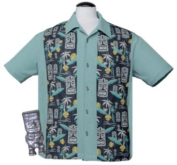 Steady Clothing Tiki In Paradise Button Up Shirt - Light Teal