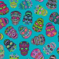 Nutex SUGAR SKULLS Fabric - Teal