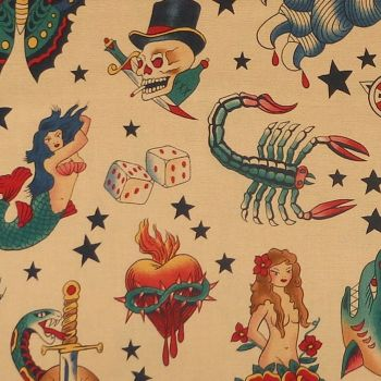 Alexander Henry TATTOO Fabric - Tea
