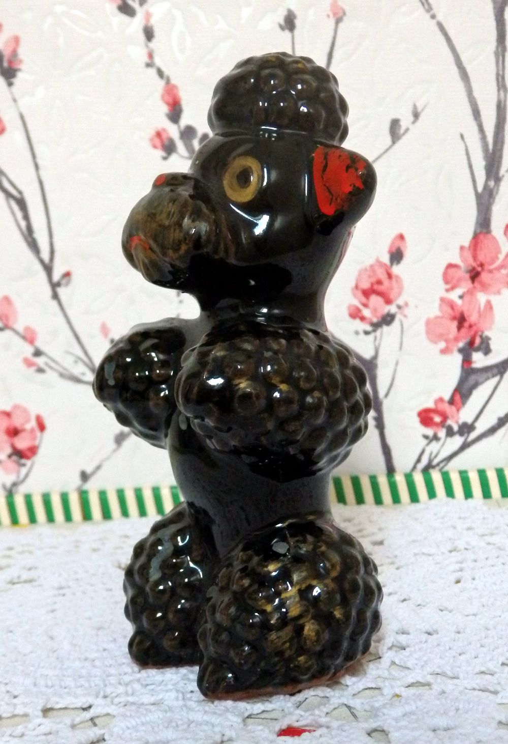 Redware Pottery hand painted Black Poodle figurine