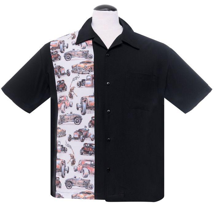 Steady Clothing Vintage Bowling Shirt Flame N Hot Schwarz Rockabilly Gothic