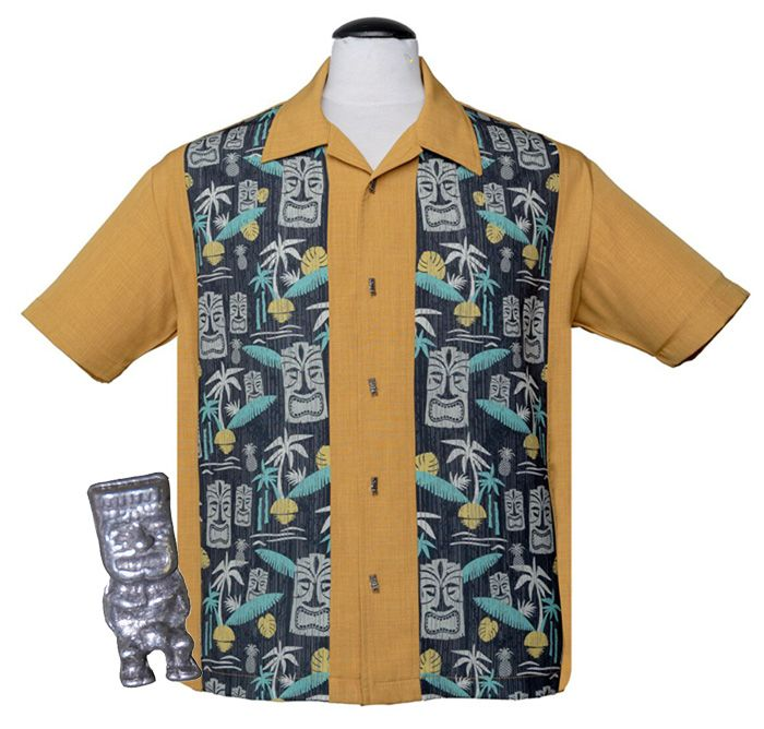 Steady Clothing Tiki In Paradise Button Up Shirt - Mustard