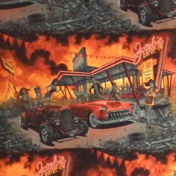 Alexander Henry ZOMBIE DRIVE-IN Fabric - Apocalypse