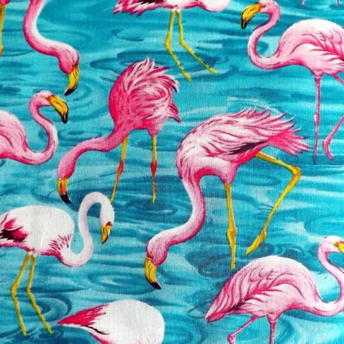 Fit To Print FLAMINGO REEF Fabric - Turquoise
