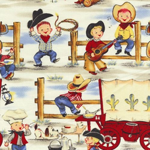 Michael Miller LIL' COWPOKES Fabric - Denim