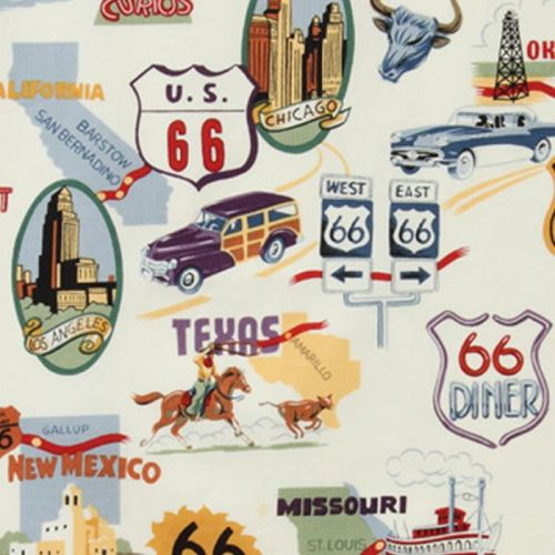 Alexander Henry ROUTE 66 Fabric - Natural