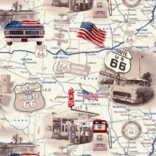 Studio E ALL AMERICAN ROAD TRIP Fabric - Travel Map - Tan
