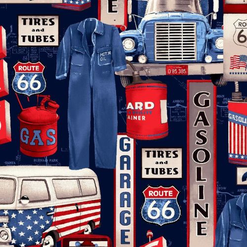 Studio E ALL AMERICAN ROAD TRIP Fabric - Gas Station Icons