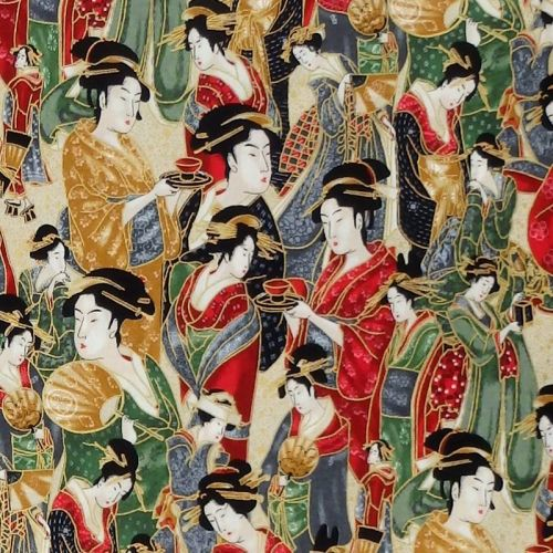 Robert Kaufman IMPERIAL COLLECTION METALLIC Fabric - Geisha