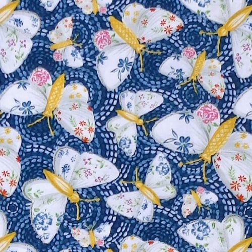 Blank Quilting GYPSY DREAMS BUTTERFLY Fabric - Blue