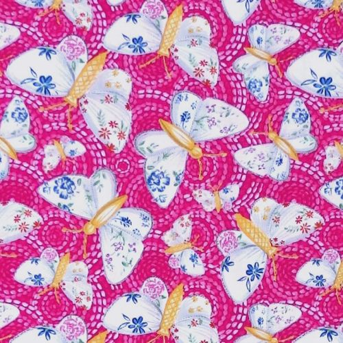 Blank Quilting GYPSY DREAMS BUTTERFLY Fabric - Pink