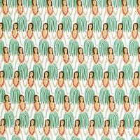 Sevenberry HULA GIRL Fabric - Green & Red