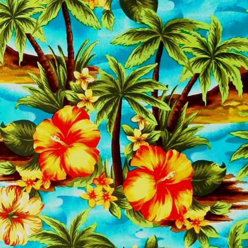 Joann TROPICAL PALM TREE Fabric - Teal