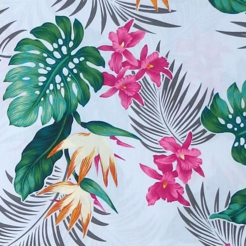 David Textiles TROPICAL PALM Fabric - Light Grey