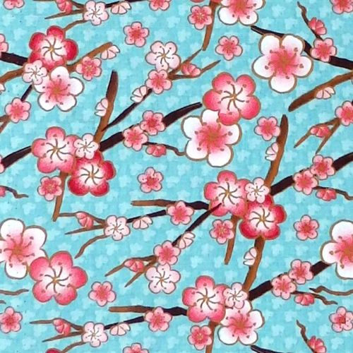 David Textiles CHERRY BLOSSOM Fabric - Teal
