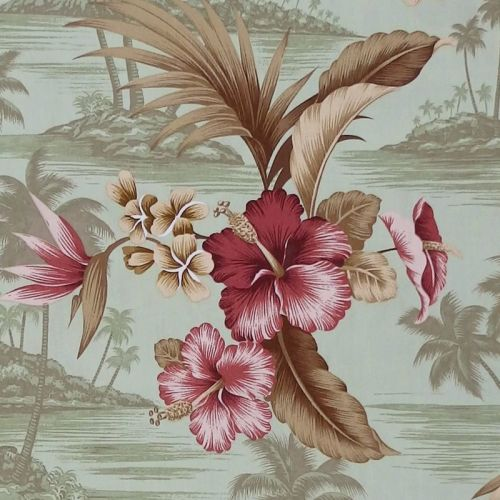 David Textiles HAWAIIAN HIBISCUS Fabric - Olive