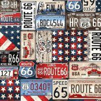 Studio E ALL AMERICAN ROAD TRIP Fabric -  License Plates