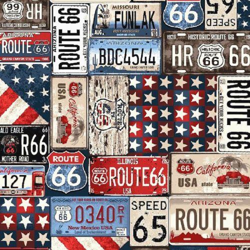 Studio E ALL AMERICAN ROAD TRIP Fabric -  License Plates - Navy