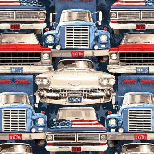 Studio E ALL AMERICAN ROAD TRIP Fabric -  Cars and Trucks
