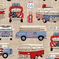 Studio E ALL AMERICAN ROAD TRIP Fabric - VW Campers - Tan