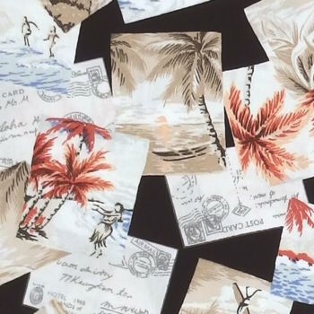 Robert Kaufman/Sevenberry ISLAND PARADISE Vacation Fabric - Black