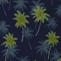 Robert Kaufman / Sevenberry ISLAND PARADISE Palm Tree Fabric - Navy