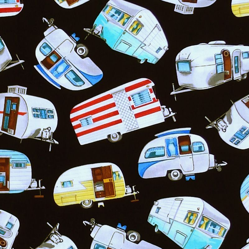 Timeless Treasures RETRO TRAILERS Fabric - Black