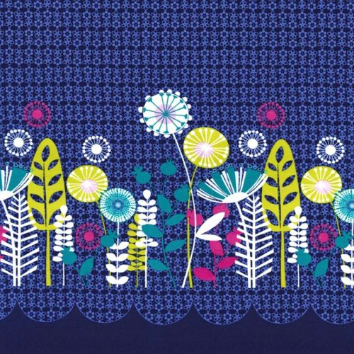 Michael Miller FLOWERS A PLENTY POSEY BORDER Fabric - Midnite