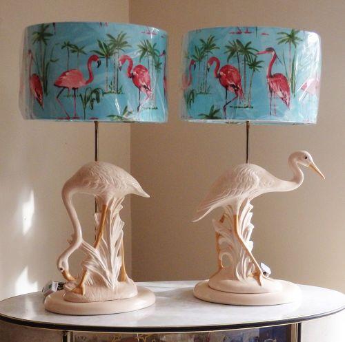 Pair Flamingo & Egret Exotic Bird Table Lamps