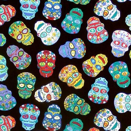 Nutex SUGAR SKULLS Fabric - Black