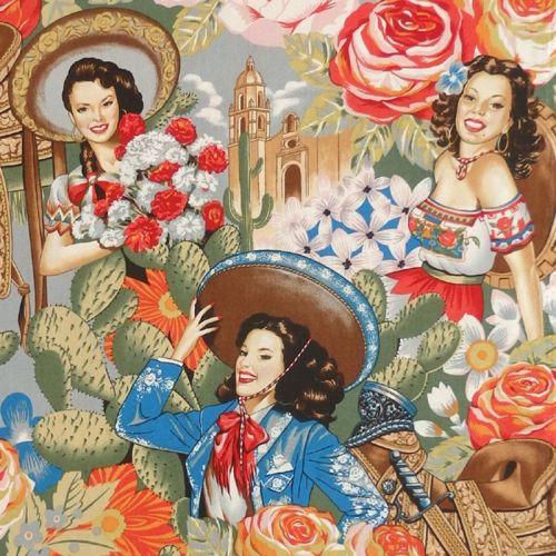 Alexander Henry LAS SENORITAS Fabric - Antique