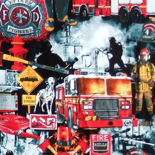 Timeless Treasures FIRE FIGHTERS Fabric - Black