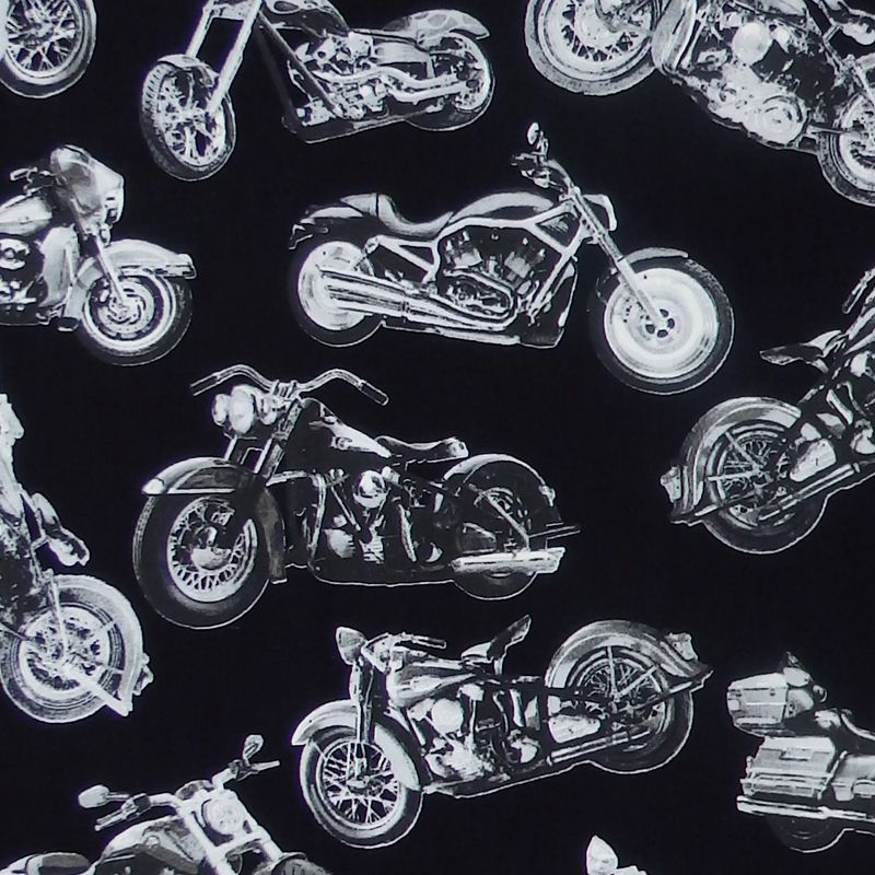 Timeless Treasures MOTORCYCLE FUN Fabric - Black