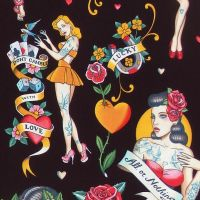 Alexander Henry DON'T GAMBLE WITH LOVE Fabric - Black