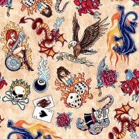 Quilting Treasures EASY RIDER, TATTOO TOSS - Tan