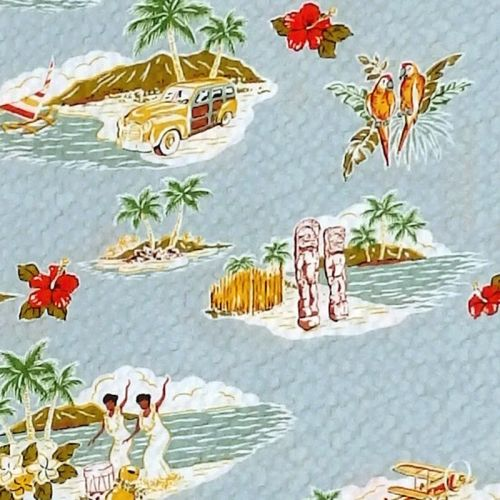 Robert Kaufman/Sevenberry STYLISH ALOHA Fabric - Pale Bluey Grey