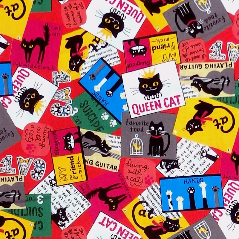 Sevenberry QUEEN CAT STAMPS Fabric
