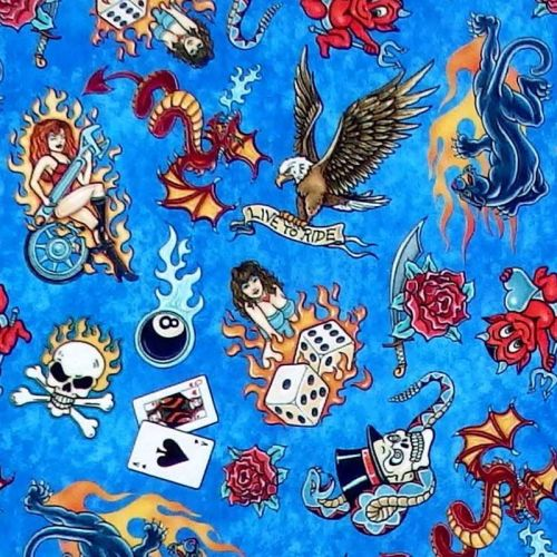 Quilting Treasures EASY RIDER TATTOOS - Blue