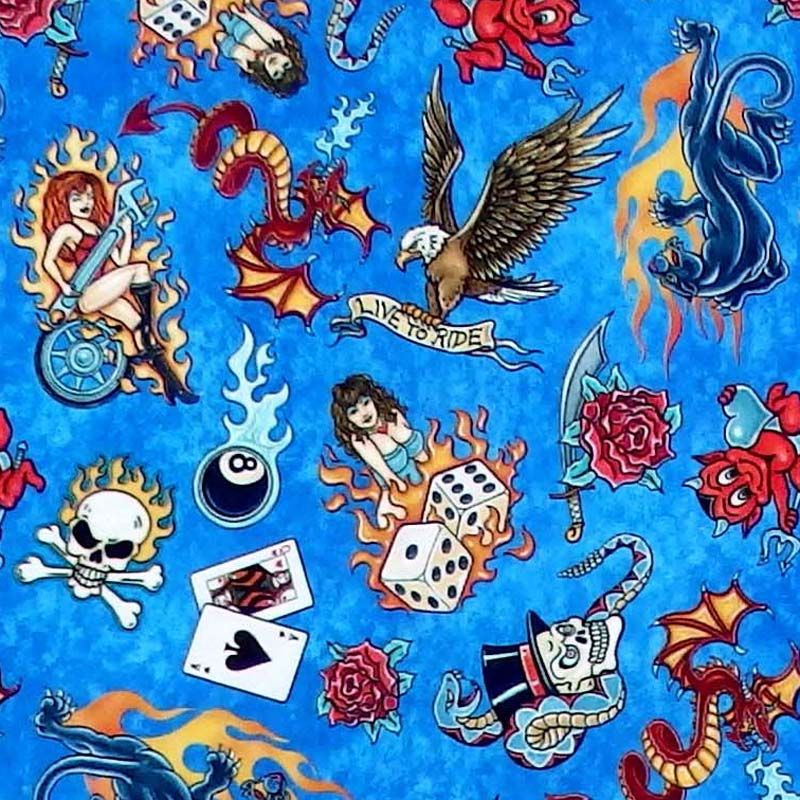 Quilting Treasures EASY RIDER, TATTOO TOSS - Blue