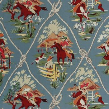 Alexander Henry ROPING RANCH SCENIC Fabric - Chambray