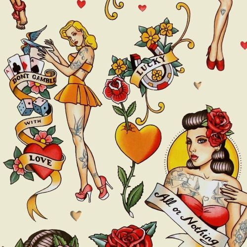 Alexander Henry DON'T GAMBLE WITH LOVE Fabric - Tea Dye
