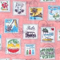 Sevenberry HAWAIIAN STAMPS Fabric - Pink