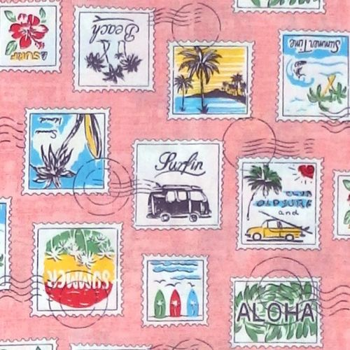 Sevenberry TROPICAL POSTAGE STAMPS Fabric - Pink