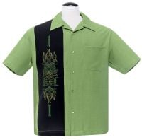 Steady Clothing Pinstripe Tiki Panel Button Up Shirt - Green