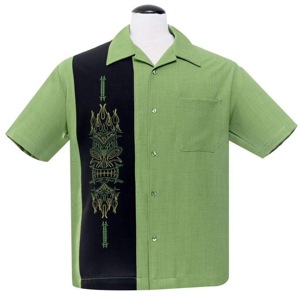 Steady Clothing Pinstripe Tiki Panel Button Up Shirt - Green