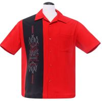 Steady Clothing Pinstripe Tiki Panel Button Up Shirt - Red