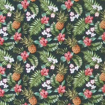 In The Beginning MINI TROPICALS Fabric - Pineapples & Hibiscus