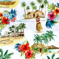Michael Miller LOST IN PARADISE - BEACH VIBES Fabric - White