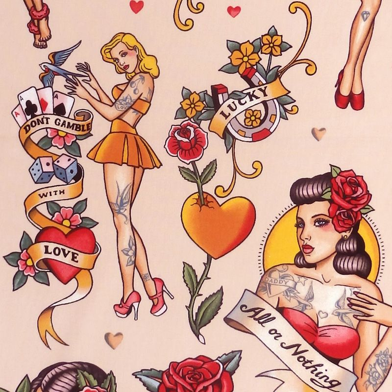Alexander Henry DON'T GAMBLE WITH LOVE Fabric - Pink Tint